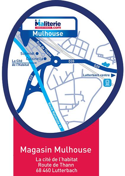 Plan d'accès magasin de literie à Mulhouse Maliterie.com