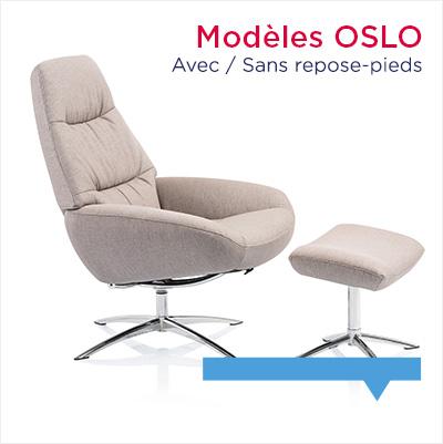 fauteuil relax design Oslo avec ou sans repose-pieds
