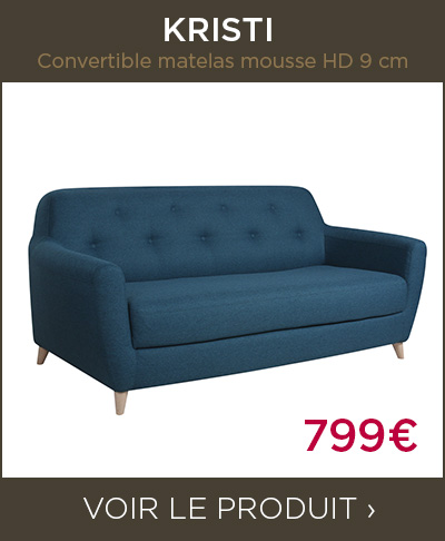 Canapé convertible KRISTI Convertible matelas mousse HD 9 cm