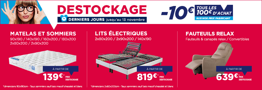 destockage matelas promotions literie et fauteuils relax sur des prix fabricant maliterie. Black Bedroom Furniture Sets. Home Design Ideas