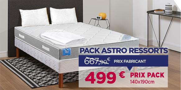 Pack Matelas ressorts astro avec sommier B5, oreillers et drap housses