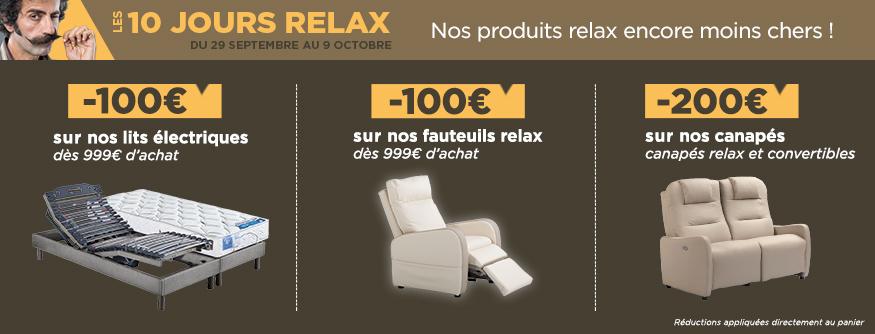 promotion les 10 jours relax sur les sommiers et lits lectriques et sur tous nos fauteuils. Black Bedroom Furniture Sets. Home Design Ideas