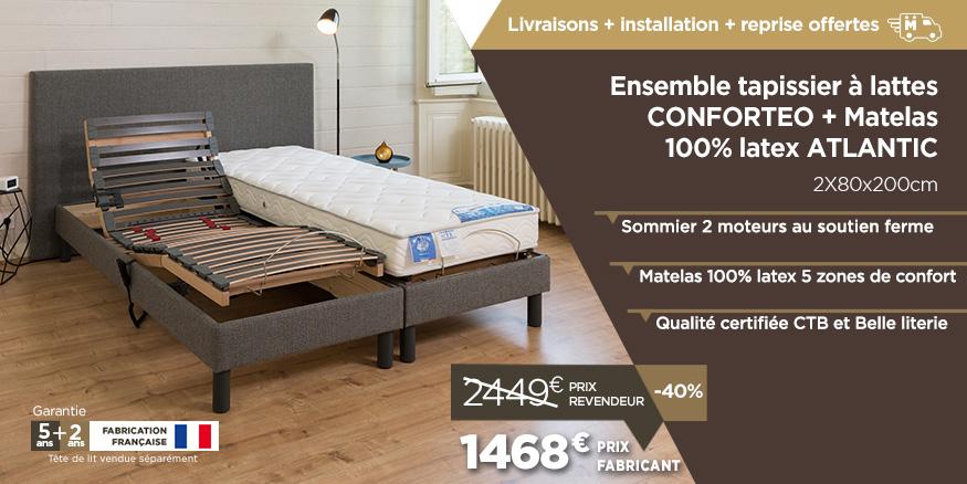sommier lectrique et ensemble relaxation prix fabricant en promotion pour la rentr e. Black Bedroom Furniture Sets. Home Design Ideas