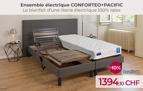 Ensemble relaxation CONFORTEO avec matelas latex PACIFIC encore moins chers pendant les soldes!