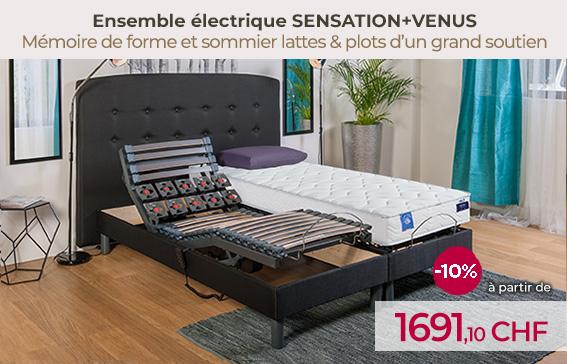 Soldes lit électrique avec le sommier lattes et plots SENSATION et le matelas à mémoire de forme VENUS