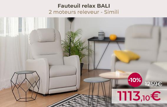 Soldes fauteuils relaxation avec fonction releveur BALI encore moins chers !